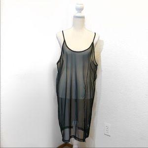 UNIF Sheer Black Mesh Slip Dress
